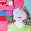 "Artist Statement: Jessie, age 13 ""Sometimes I am angry and frustrated. The red paper in my portrait represents those feelings. Other times I am calm and relaxed. The turquoise paper shows that."""