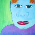 "Artist Statement: Adam, age 12 ""I chose dark and light blue paper for my portrait because blue is my favorite color."""