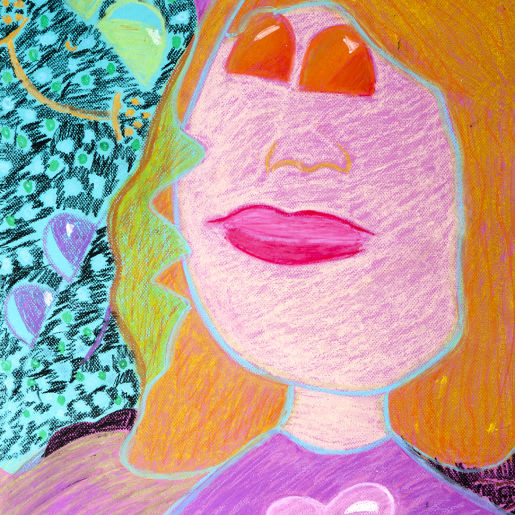 "Artist Statement: Jackie, age 12 ""I am a happy person most of the time so I made my eyes look like sunshine and gave myself sunny yellow hair."