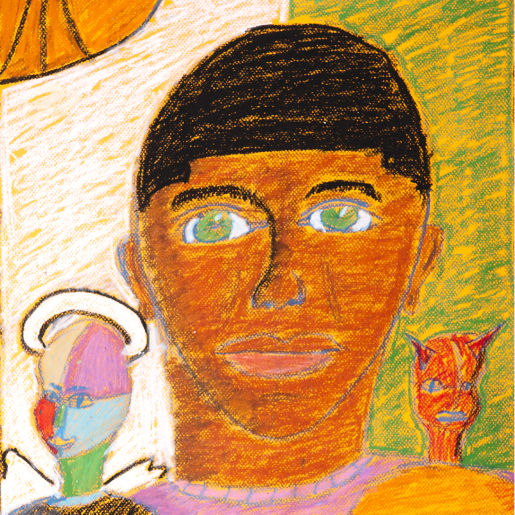 "Artist Statement: Scott, age 13 ""The red frame around my portrait represents all the bad things that have happened in my life. These things surround me and keep me boxed in."